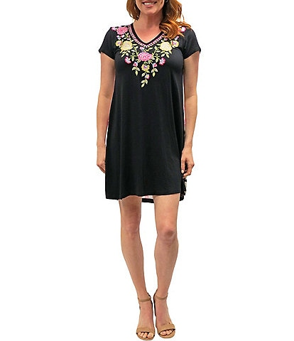 Karyn Seo Bonnie Short Sleeve Embroidered Front Printed Back Dress