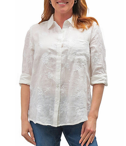 Karyn Seo Delilah All-Over Vintage Tonal Embroidered Roll-Tab Sleeve Button Down Linen Shirt