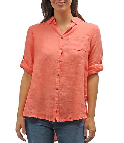 Karyn Seo Ezra Embroidered Back Point Collar Hi-Low Shirt