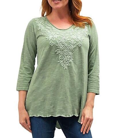 Karyn Seo Mari Vintage Tonal Embroidered V-Neck 3/4 Sleeve Scalloped Hem Cotton Tunic Top