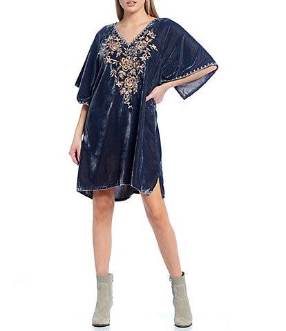 Karyn Seo Rachella 3/4 Wide Sleeve Velvet Embroidered Dress