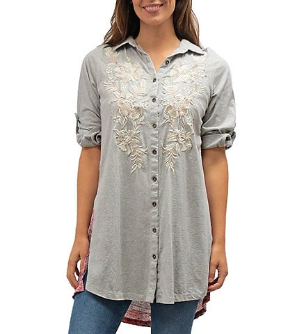 Karyn Seo Scout Vintage Tonal Floral Embroidered Roll-Tab Sleeve Contrast-Back Button Front Tunic