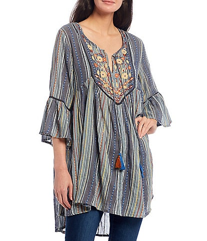 Karyn Seo Shelby Multicolor Embroidery Stripe 3/4 Bell Sleeve Peasant Cotton Tunic Dress