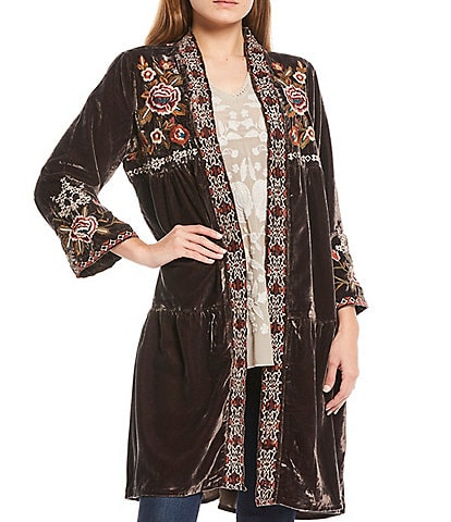 Karyn Seo Tasha Velvet Tiered Multi Color Embroidery Wide Sleeve Duster