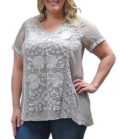 Karyn Seo Plus Size Martina V-Neck Floral Embroidered Tunic Top