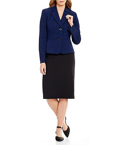 Kasper 2-Button Stretch Crepe Blazer & Stretch Crepe Skimmer Skirt