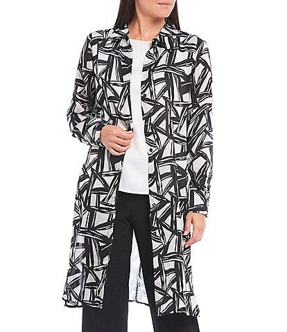 Kasper Abstract Geo Printed Satin Oxford Long Sleeve Shirt Topper