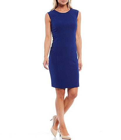 Kasper Cap Sleeve Shoulder Yoke Crepe Sheath Dress