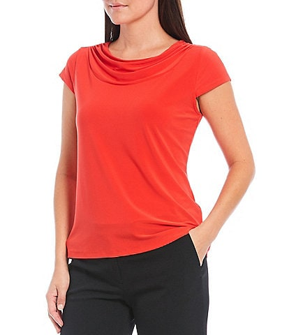 Kasper Cowl Neck Cap Sleeve Knit Top