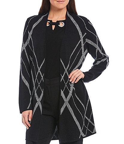 Kasper Criss Cross Plaid Jacquard Long Cardigan