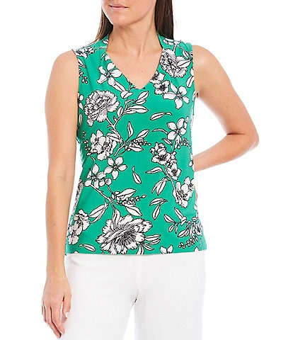 Kasper Floral Print Sleeveless V-Neck Knit Top