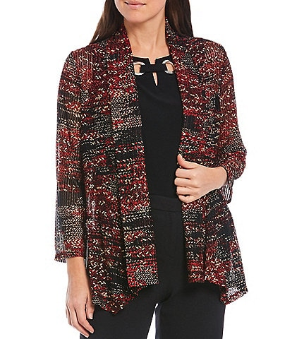 Kasper Foil Printed 3/4 Sleeve Shawl Collar Cardigan