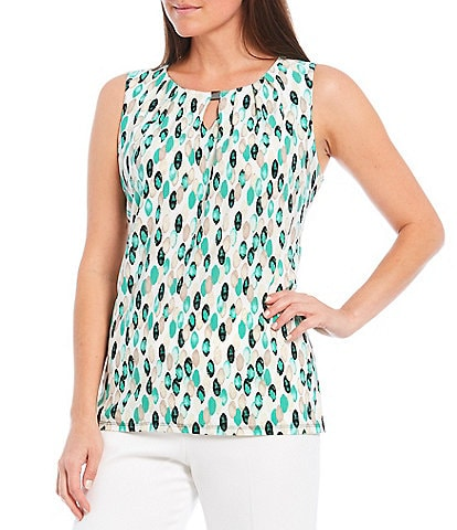 Kasper Geo Dot Print Sleeveless Pleat Neck Knit Top