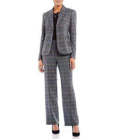 Kasper Glen Plaid Notch Lapel Two Button Front Pocket Jacket & Pull-On Wide Leg Pants