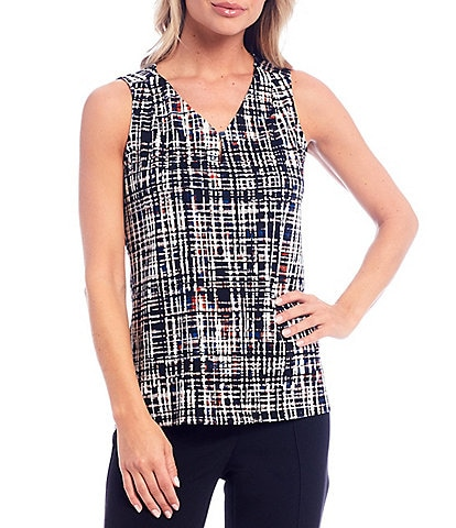 Kasper Halo Crosshatch Sleeveless V-Neck Keyhole Crepe Top