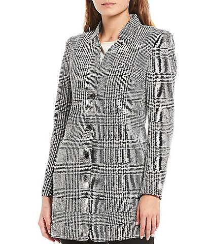 Kasper Houndstooth Plaid Knit Jacquard Button Front Topper