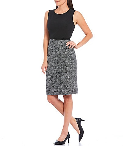 Kasper Jewel Neck Sleeveless Stretch Crepe Tweed Belted Sheath Dress