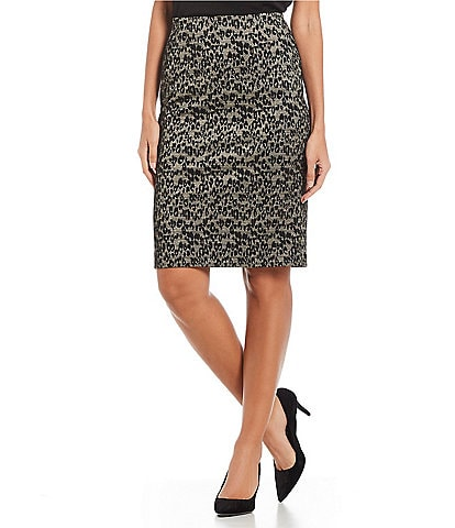 Kasper Knit Jacquard Animal Skirt