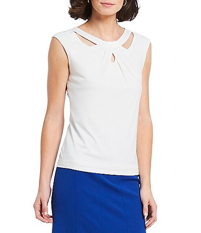 Kasper Knit Jersey Cut-Out Twist Neck Shell