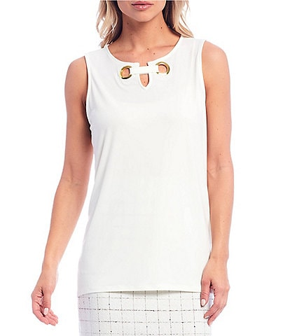 Kasper Knit Sleeveless Keyhole Grommet Detail Top
