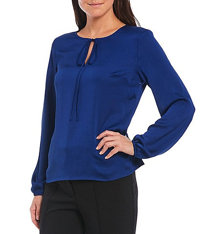 Kasper Long Sleeve Tie Neck Textured Charmeuse Blouse