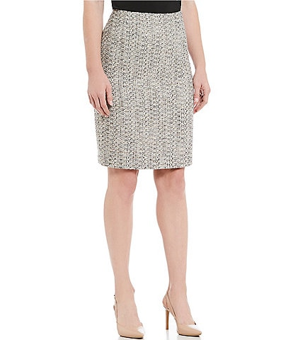 Kasper Metallic Tweed Slim Pencil Skirt