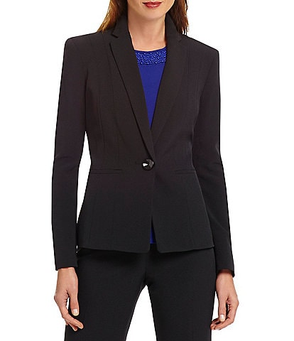 Kasper Petite One-Button Crepe Jacket