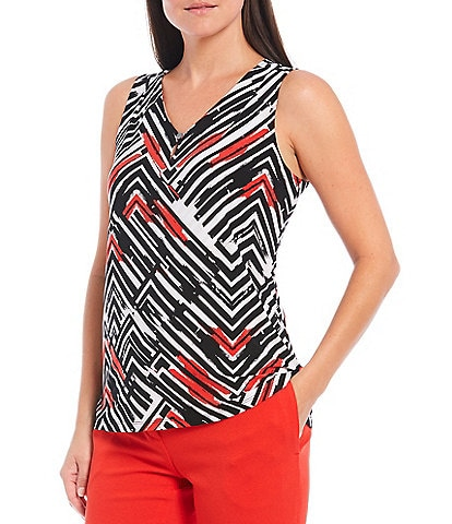 Kasper Petite Size Geo Stripe Print Sleeveless Pleat Neck Knit Cami