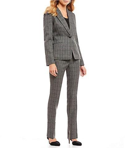 Kasper Petite Size Plaid Notch Collar One-Button Jacket & Plaid Slim Straight Leg Pant Suit
