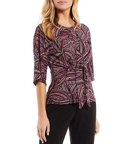 Kasper Petite Size Printed Crew Neck Elbow 3/4 Sleeve Knot Front Top