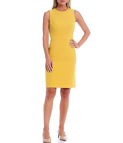 Kasper Petite Size Sleeveless Banded Waist Stretch Crepe Sheath Dress