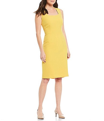 Kasper Petite Size Sleeveless Square Neck Stretch Crepe Back Pleat Detail Sheath Dress