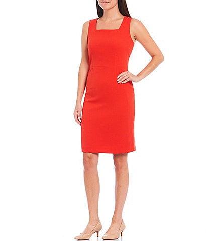 Kasper Petite Size Stretch Crepe Square Neck Sleeveless Dress