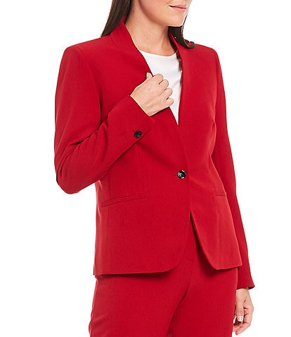 Kasper Petite Size Stretch Crepe Stand Combo Collar One Button Jacket