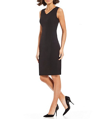 Kasper Petite Size Stretch Crepe V-Neck Sheath Dress