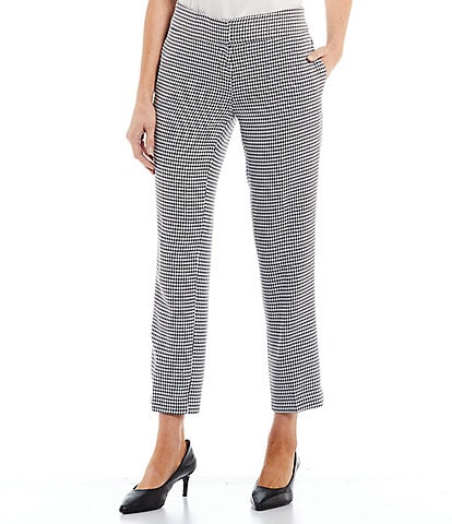 Kasper Petite Size Textured Houndstooth Mid-Rise Straight Leg Ankle Pants