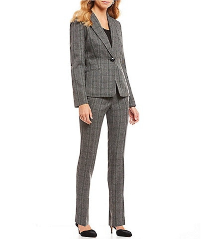 Kasper Plaid Notch Collar One-Button Jacket & Plaid Slim Straight-Leg Pant Suit
