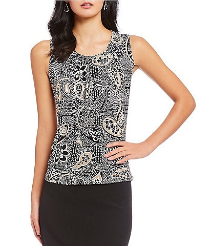 Kasper Pleat Neck Paisley Print Sleeveless Top
