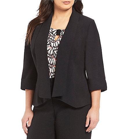 Kasper Plus Size Crepe 3/4 Sleeve Open Front Jacket