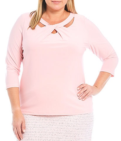 Kasper Plus Size 3/4 Sleeve Twist Neck Top