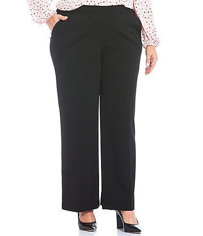 Kasper Plus Size Crepe Elastic Back Wide Leg Pull-On Pants