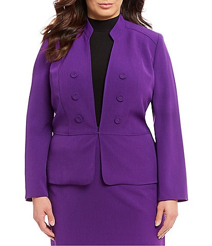 Kasper Plus Size Crepe Stand Collar Hook Front Jacket