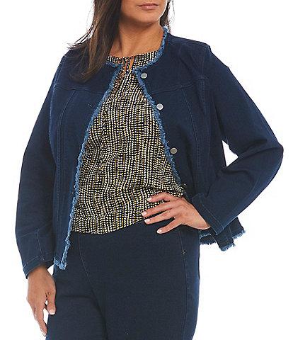 Kasper Plus Size Long Sleeve Collarless Fringed Denim Jacket