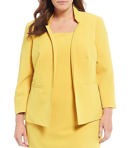 Kasper Plus Size Long Sleeve Stand Collar Stretch Crepe Open Front Jacket