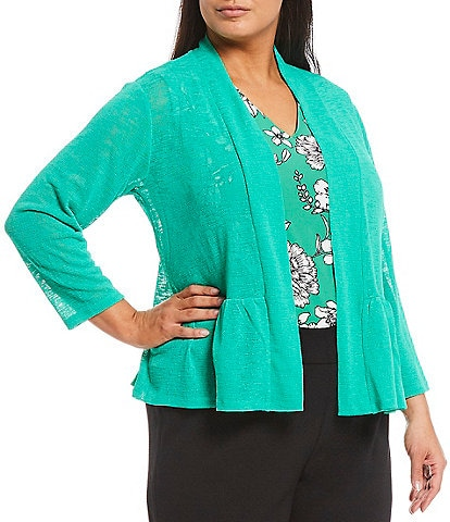 Kasper Plus Size Onion Skin 3/4 Sleeve Peplum Cardigan