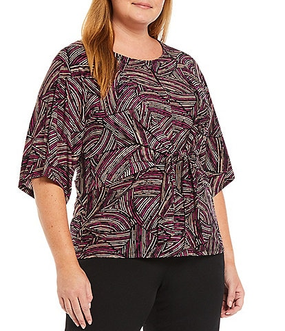 Kasper Plus Size Printed Jewel Neck Elbow Short Sleeve Knot Front Top