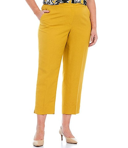 Kasper Plus Size Side Zip Cropped Linen Pants