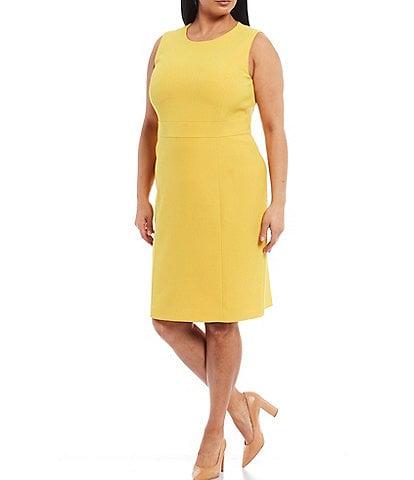 Kasper Plus Size Sleeveless Banded Waist Stretch Crepe Sheath Dress