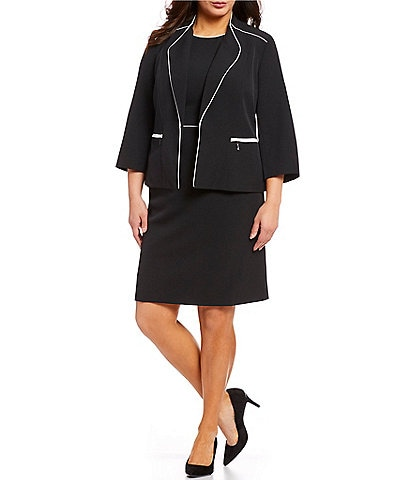 Kasper Plus Size Stretch Crepe Contrast Piping Detail Jacket & Piped Contrast Sheath Dress