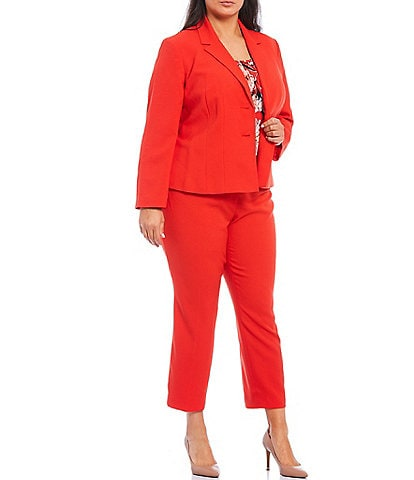 Kasper Plus Size Stretch Crepe Notch Lapel Two Button Jacket & Cropped Slim Pant